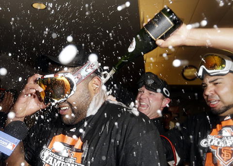 SF Giants celebrating their National League Championship with Brut Prestige.