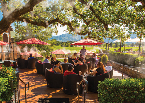Guests enjoying wine and cheese pairings on Mumm Napa's Oak Terrace.